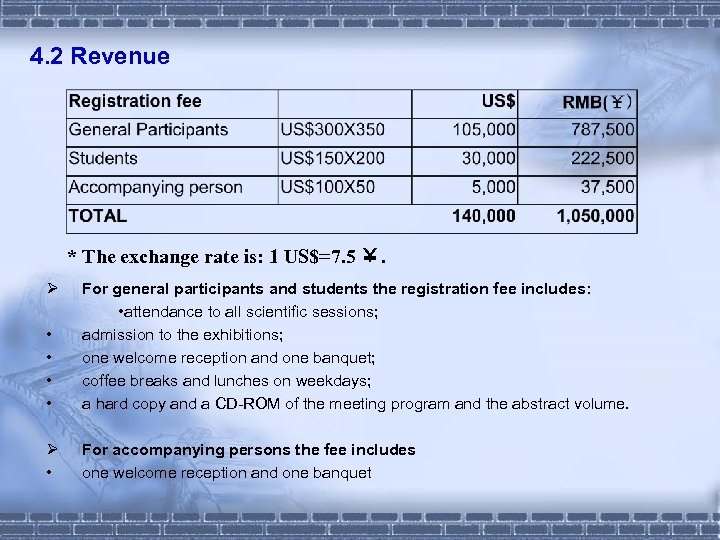4. 2 Revenue * The exchange rate is: 1 US$=7. 5 ¥. Ø •