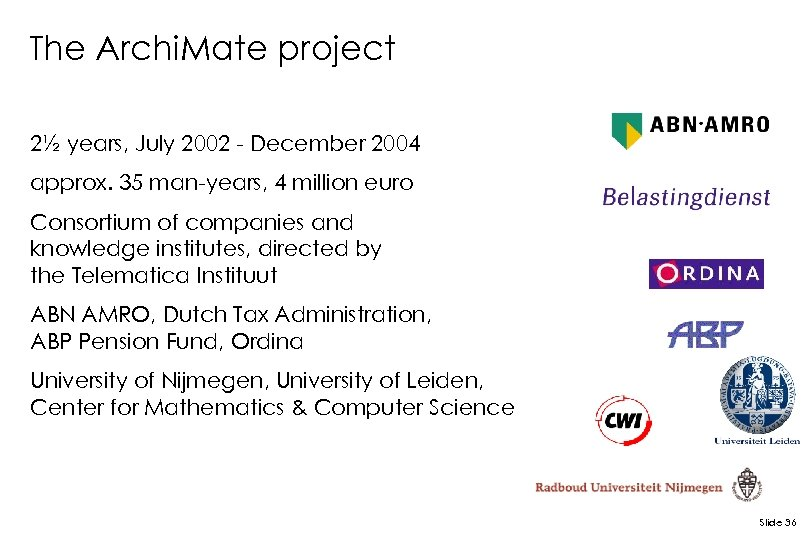The Archi. Mate project 2½ years, July 2002 - December 2004 approx. 35 man-years,