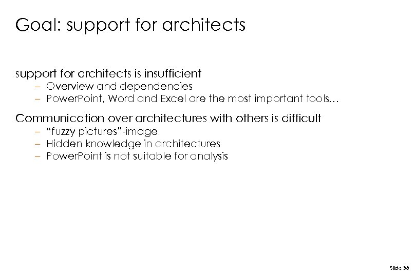 Goal: support for architects is insufficient – Overview and dependencies – Power. Point, Word
