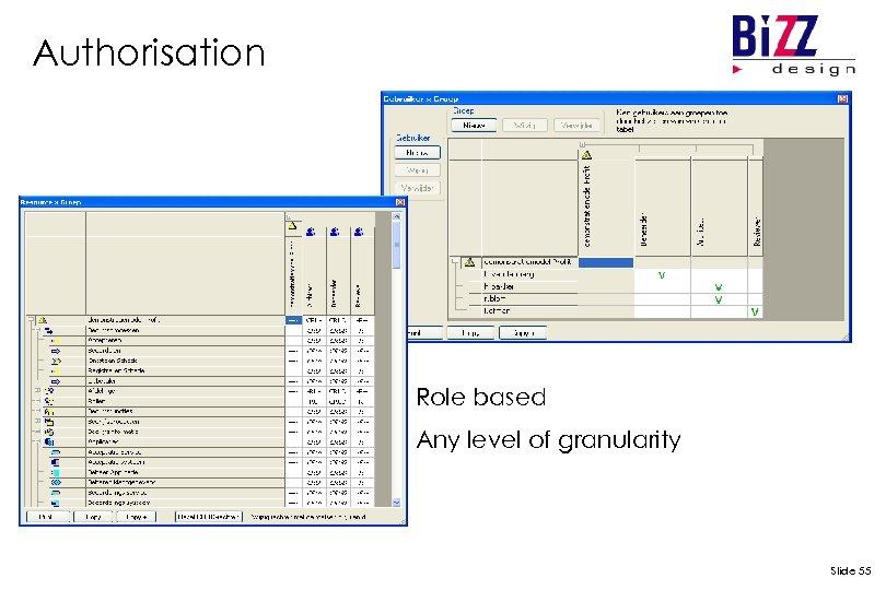 Authorisation Role based Any level of granularity Slide 55