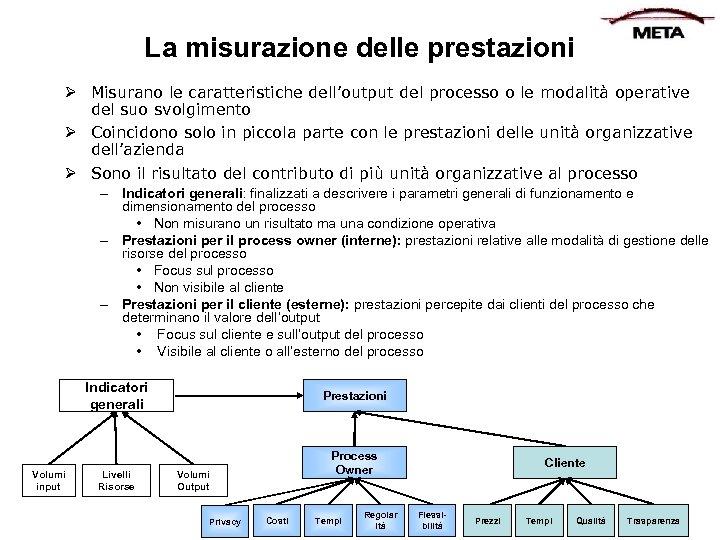 La misurazione delle prestazioni Ø Misurano le caratteristiche dell'output del processo o le modalità