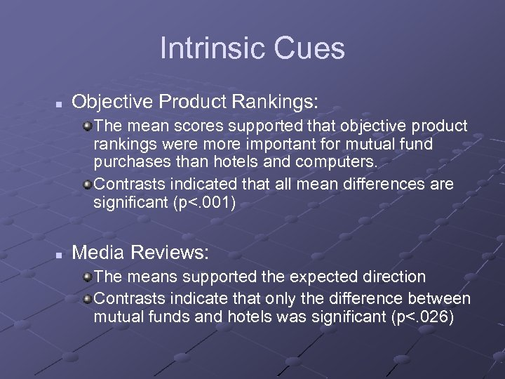 Intrinsic Cues n Objective Product Rankings: The mean scores supported that objective product rankings