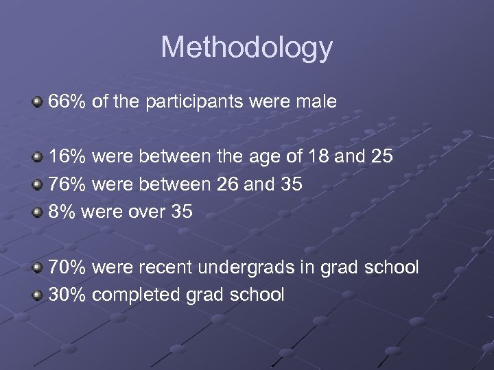 Methodology 66% of the participants were male 16% were between the age of 18