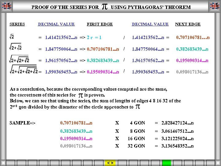 ORDER π FIRST EDGE NEXT EDGE FOUND RATIO PROOF OF THE SERIES FOR USING