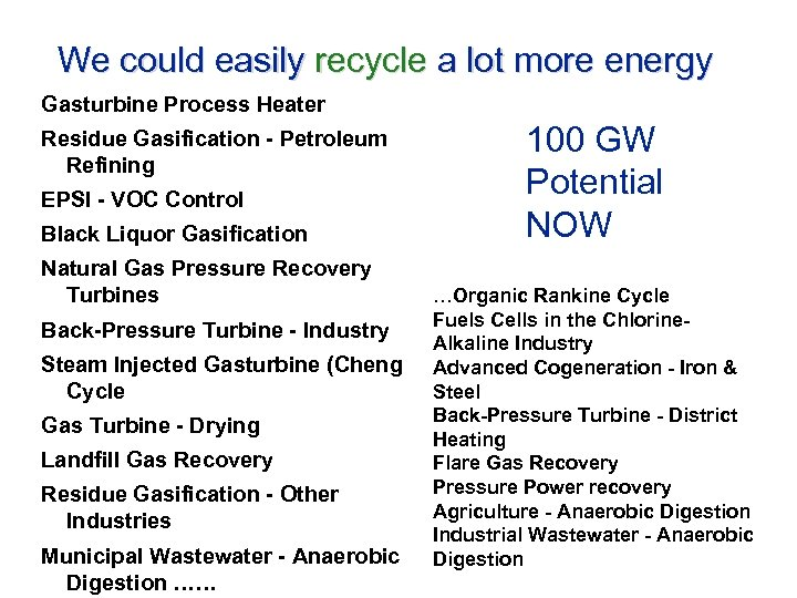 We could easily recycle a lot more energy Gasturbine Process Heater Residue Gasification -