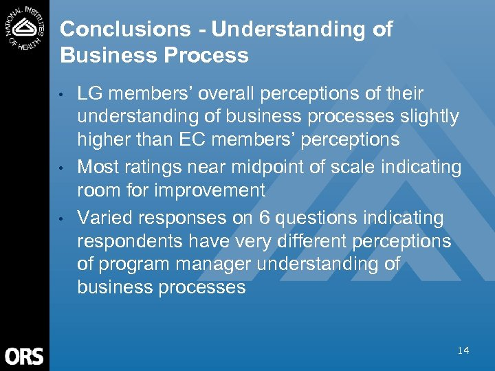 Conclusions - Understanding of Business Process • • • LG members' overall perceptions of