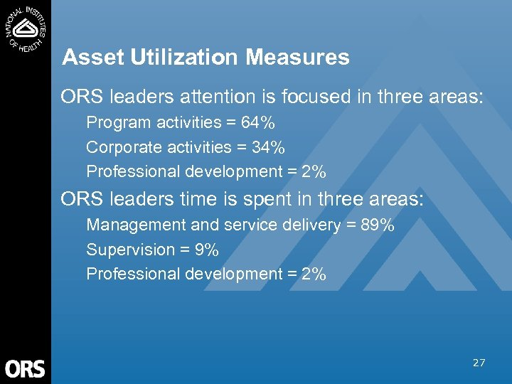 Asset Utilization Measures ORS leaders attention is focused in three areas: Program activities =