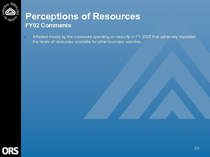 Perceptions of Resources FY 02 Comments • Affected mostly by the increased spending on