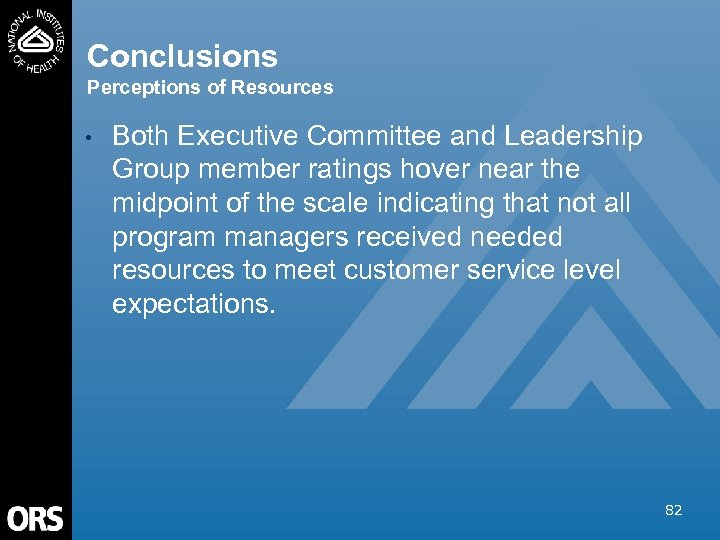 Conclusions Perceptions of Resources • Both Executive Committee and Leadership Group member ratings hover