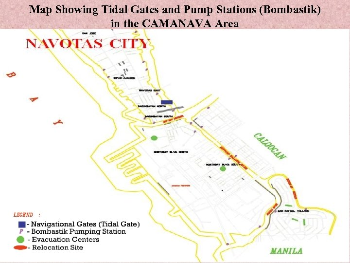 Map Showing Tidal Gates and Pump Stations (Bombastik) in the CAMANAVA Area