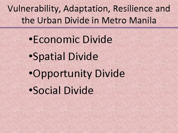 Vulnerability, Adaptation, Resilience and the Urban Divide in Metro Manila • Economic Divide •