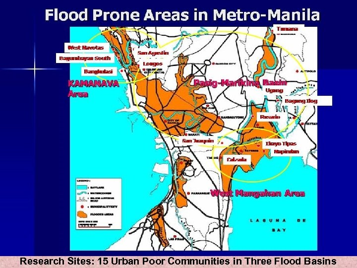 Research Sites: 15 Urban Poor Communities in Three Flood Basins