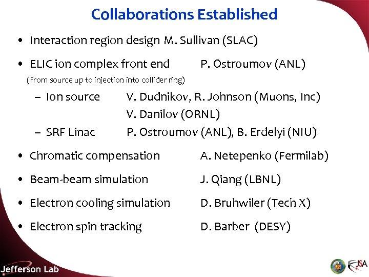 Collaborations Established • Interaction region design M. Sullivan (SLAC) • ELIC ion complex front