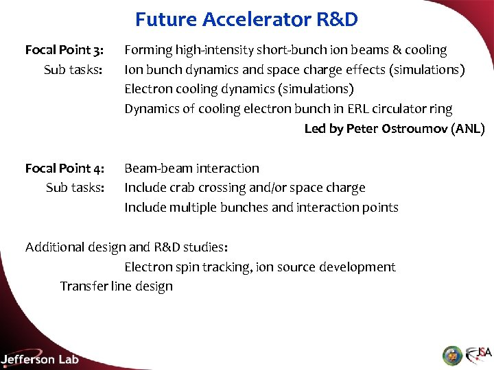 Future Accelerator R&D Focal Point 3: Sub tasks: Forming high-intensity short-bunch ion beams &