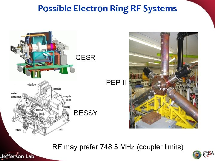 Possible Electron Ring RF Systems CESR PEP II BESSY RF may prefer 748. 5