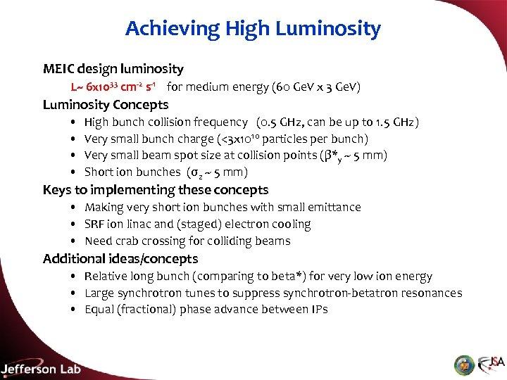 Achieving High Luminosity MEIC design luminosity L~ 6 x 1033 cm-2 s-1 for medium