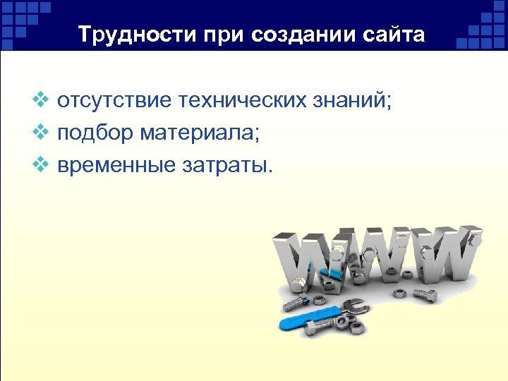 Трудности при создании сайта v отсутствие технических знаний; v подбор материала; v временные затраты.