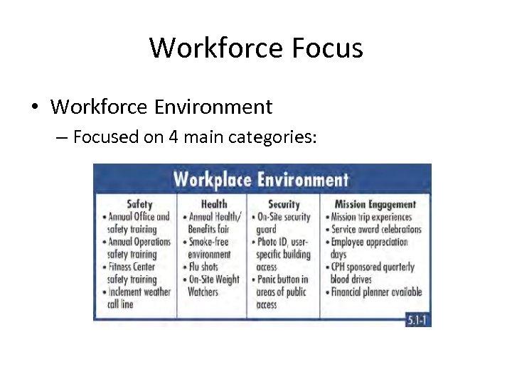 Workforce Focus • Workforce Environment – Focused on 4 main categories: