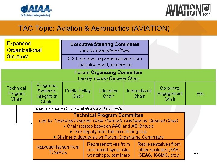 TAC Topic: Aviation & Aeronautics (AVIATION) Expanded Organizational Structure Executive Steering Committee Led by