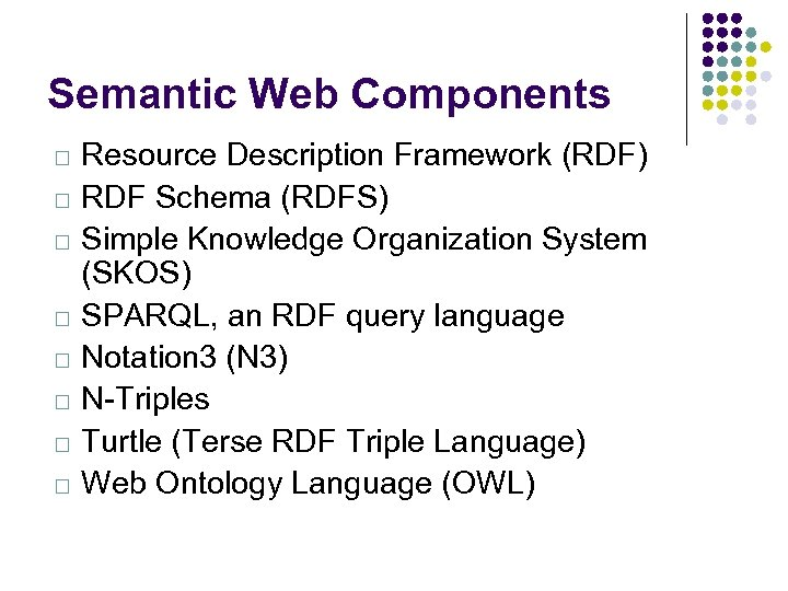 Semantic Web Components Resource Description Framework (RDF) RDF Schema (RDFS) Simple Knowledge Organization System