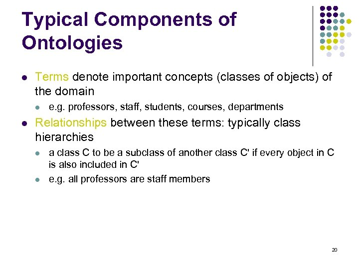 Typical Components of Ontologies l Terms denote important concepts (classes of objects) of the