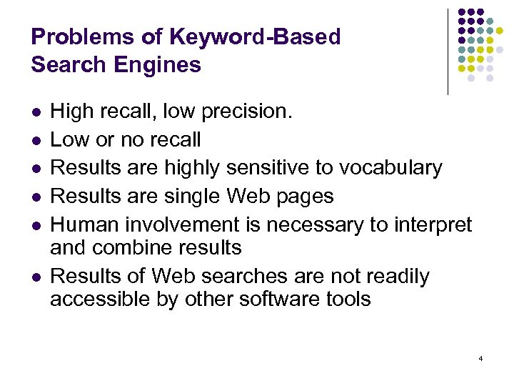 Problems of Keyword-Based Search Engines l l l High recall, low precision. Low or