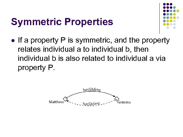 Symmetric Properties l If a property P is symmetric, and the property relates individual