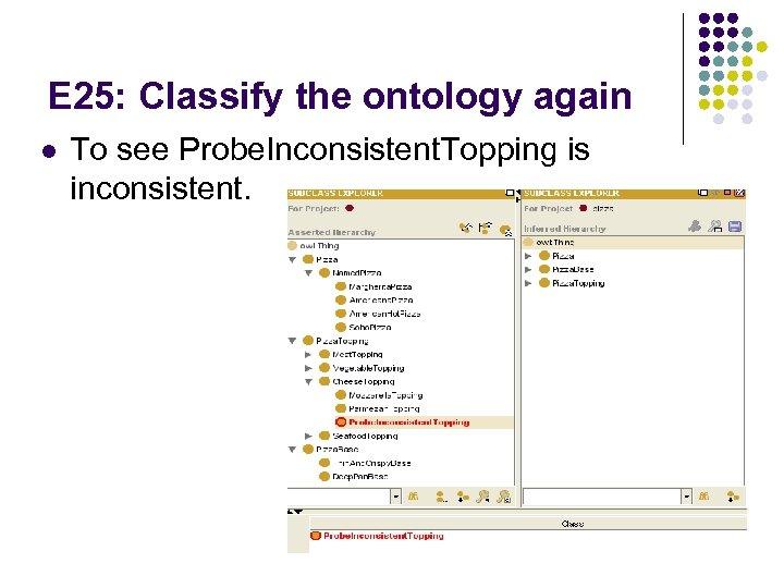 E 25: Classify the ontology again l To see Probe. Inconsistent. Topping is inconsistent.