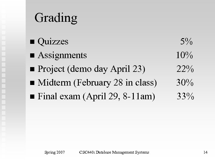 Grading Quizzes n Assignments n Project (demo day April 23) n Midterm (February 28
