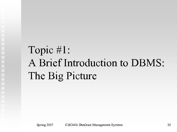Topic #1: A Brief Introduction to DBMS: The Big Picture Spring 2007 CSC 440: