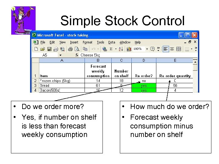 Simple Stock Control • Do we order more? • Yes, if number on shelf