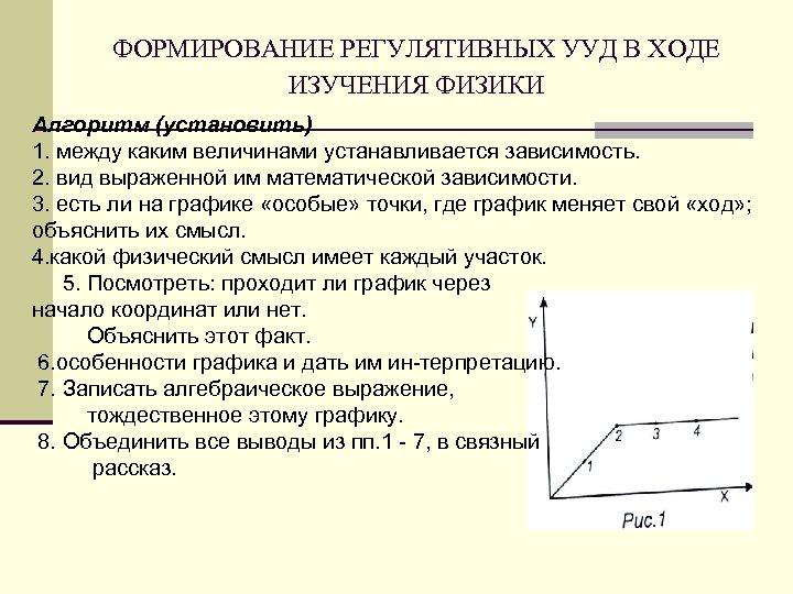 ФОРМИРОВАНИЕ РЕГУЛЯТИВНЫХ УУД В ХОДЕ ИЗУЧЕНИЯ ФИЗИКИ Алгоритм (установить) 1. между каким величинами устанавливается