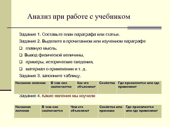 Анализ при работе с учебником Задание 1. Составьте план параграфа или статьи. Задание 2.