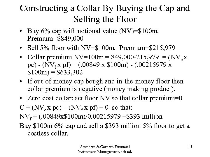 Constructing a Collar By Buying the Cap and Selling the Floor • Buy 6%