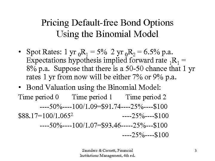 Pricing Default-free Bond Options Using the Binomial Model • Spot Rates: 1 yr 0
