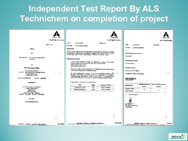 Independent Test Report By ALS Technichem on completion of project