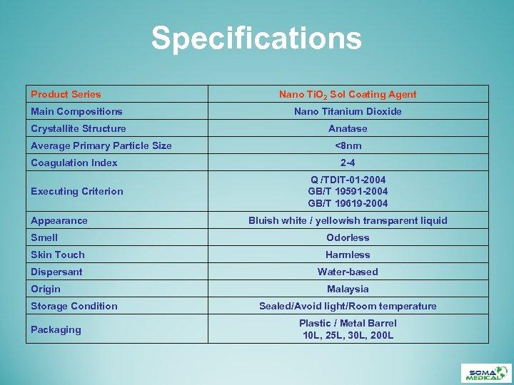 Specifications Product Series Nano Ti. O 2 Sol Coating Agent Main Compositions Nano Titanium
