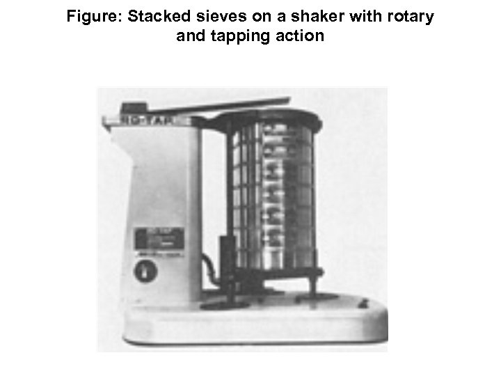 Figure: Stacked sieves on a shaker with rotary and tapping action