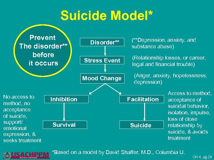 Suicide Model* Prevent The disorder** before it occurs Disorder** (**Depression, anxiety, and substance abuse)