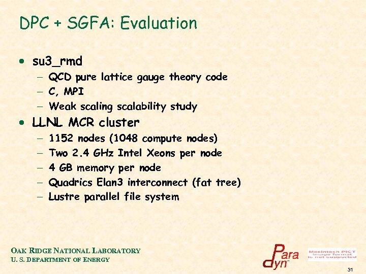 DPC + SGFA: Evaluation · su 3_rmd - QCD pure lattice gauge theory code
