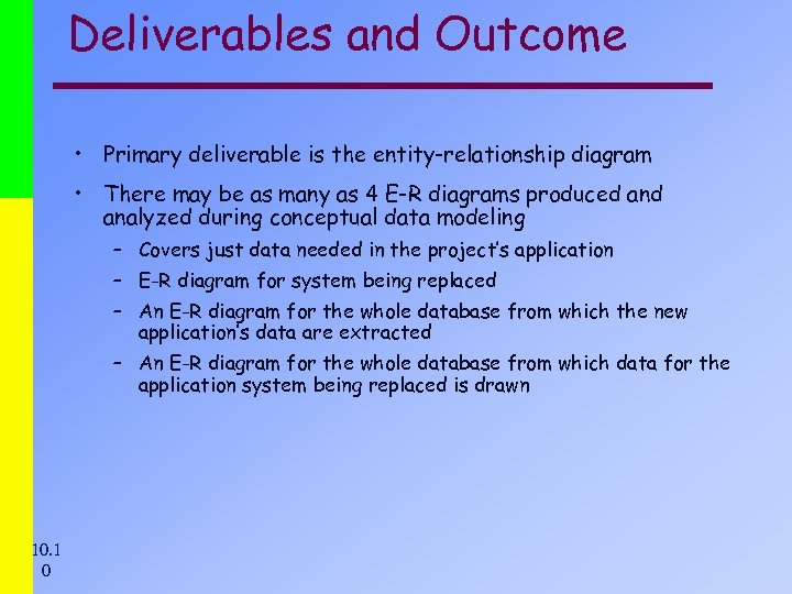 Deliverables and Outcome • Primary deliverable is the entity-relationship diagram • There may be