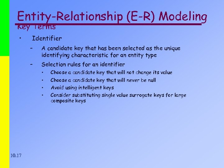 Entity-Relationship (E-R) Modeling Key Terms • Identifier – A candidate key that has been