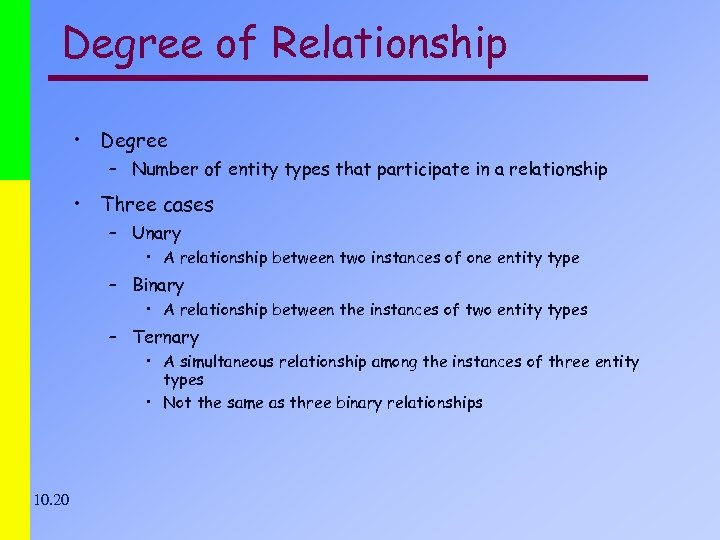 Degree of Relationship • Degree – Number of entity types that participate in a