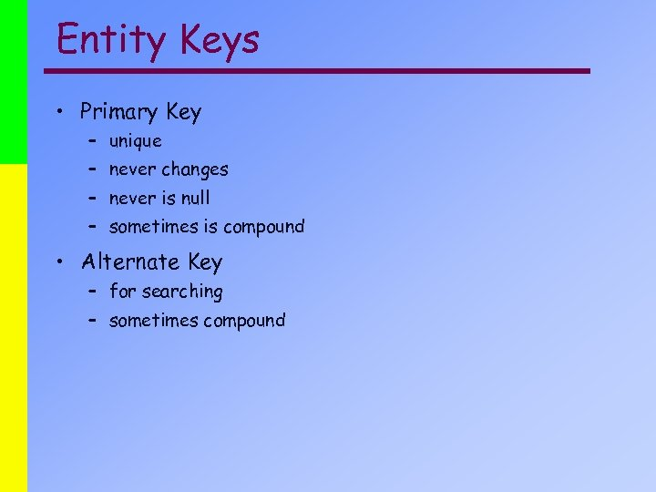 Entity Keys • Primary Key – unique – never changes – never is null