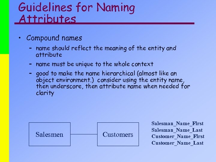 Guidelines for Naming Attributes • Compound names – name should reflect the meaning of