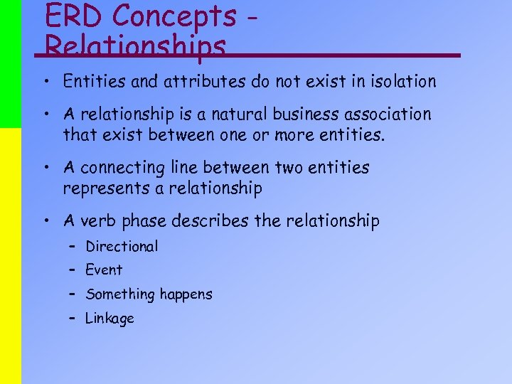 ERD Concepts Relationships • Entities and attributes do not exist in isolation • A
