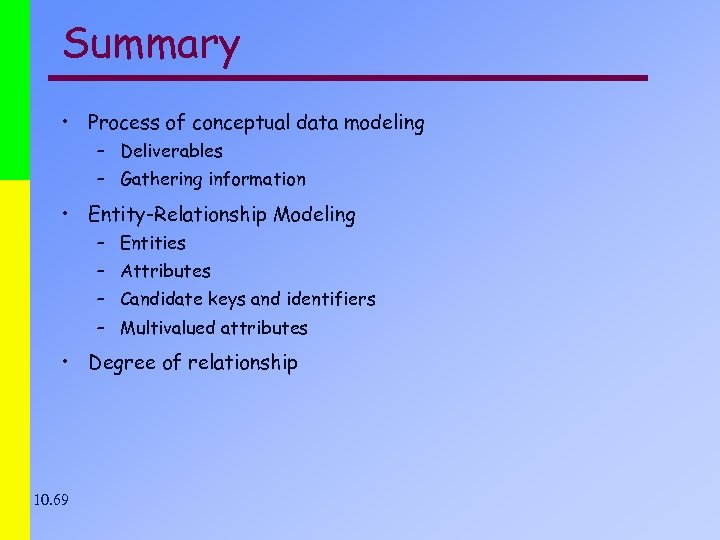 Summary • Process of conceptual data modeling – Deliverables – Gathering information • Entity-Relationship