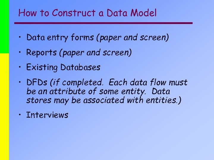 How to Construct a Data Model • Data entry forms (paper and screen) •