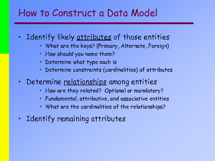 How to Construct a Data Model • Identify likely attributes of those entities •
