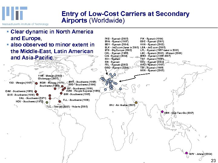 Massachusetts Institute of Technology Entry of Low-Cost Carriers at Secondary Airports (Worldwide) § Clear